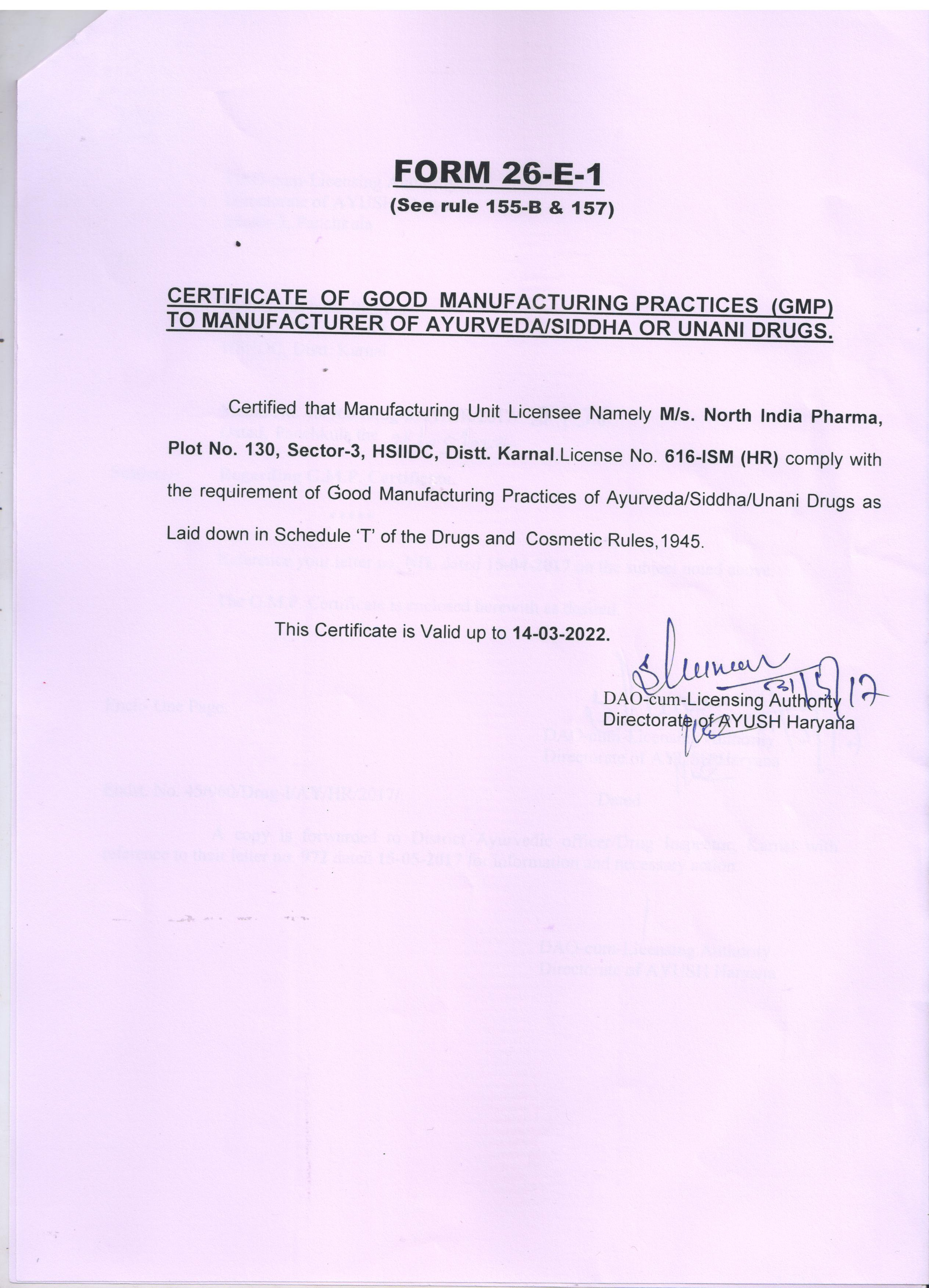 Certification north india life sciences g m p 1betcityfo Image collections